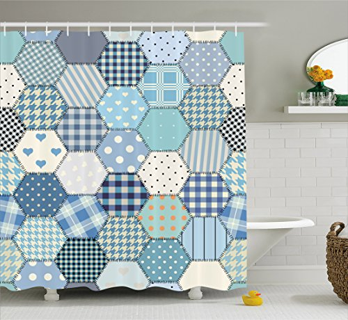 Lunarable Cabin Shower Curtain, Blue Toned Patchwork Hexagon