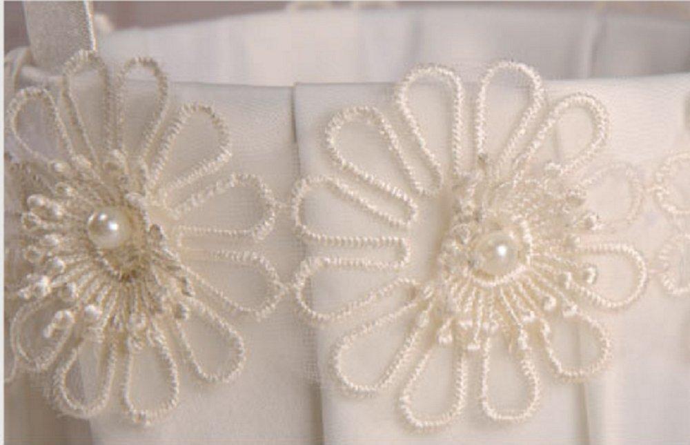 Juyuan Vintage Weiss Satin Spitze Bow Hochzeits Blumen Madchen Korb