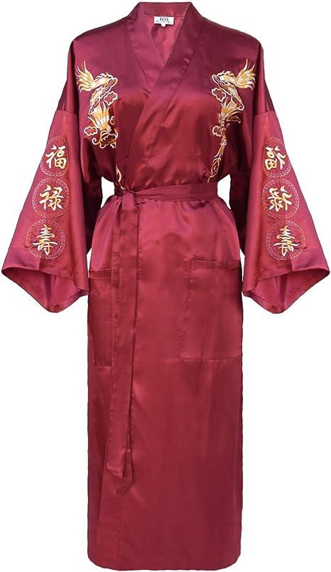 TALLA M. kimono japonés para los mujeres, bata elegante estilo chino : negro, azul o borgoña