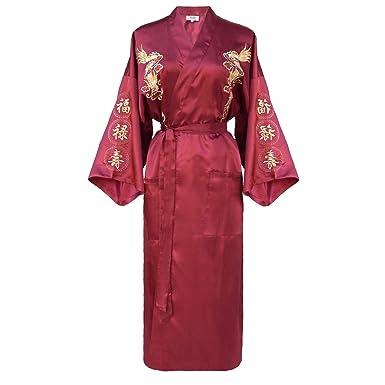 kimono japonés para mujer, bata elegante estilo chino borgoña