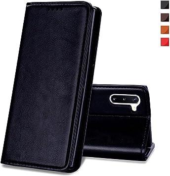 EATCYE Funda para Samsung Galaxy Note 10, [Cuero Genuino] Vintage Carcasa Libro de Cuero Estuche Plegable con Billetera Diseño Delgado [Cierre Magnético]: Amazon.es: Electrónica