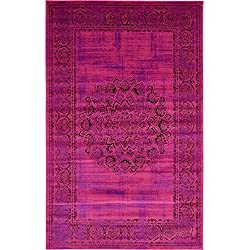 Luxury Modern Vintage Inspired Overdyed Area Rugs Fuchsia 5' x 8' FT Artis Designer Rug Colorful Craft Rugs and Carpet