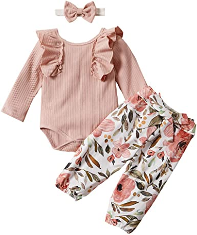 2PCS Baby Girls Long Sleeve Bodysuits Headband Sets Toddler Casual Party Outfits