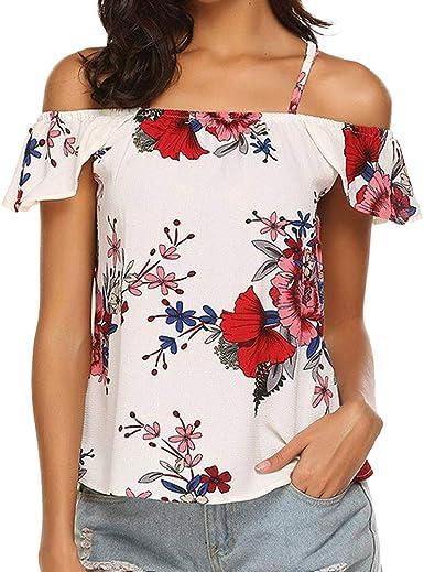 LEEDY Moda Mujer Fuera del Hombro Sin Mangas Casual con Estampado De Flores con Volantes Camisa Top Top Camiseta: Amazon.es: Ropa y accesorios