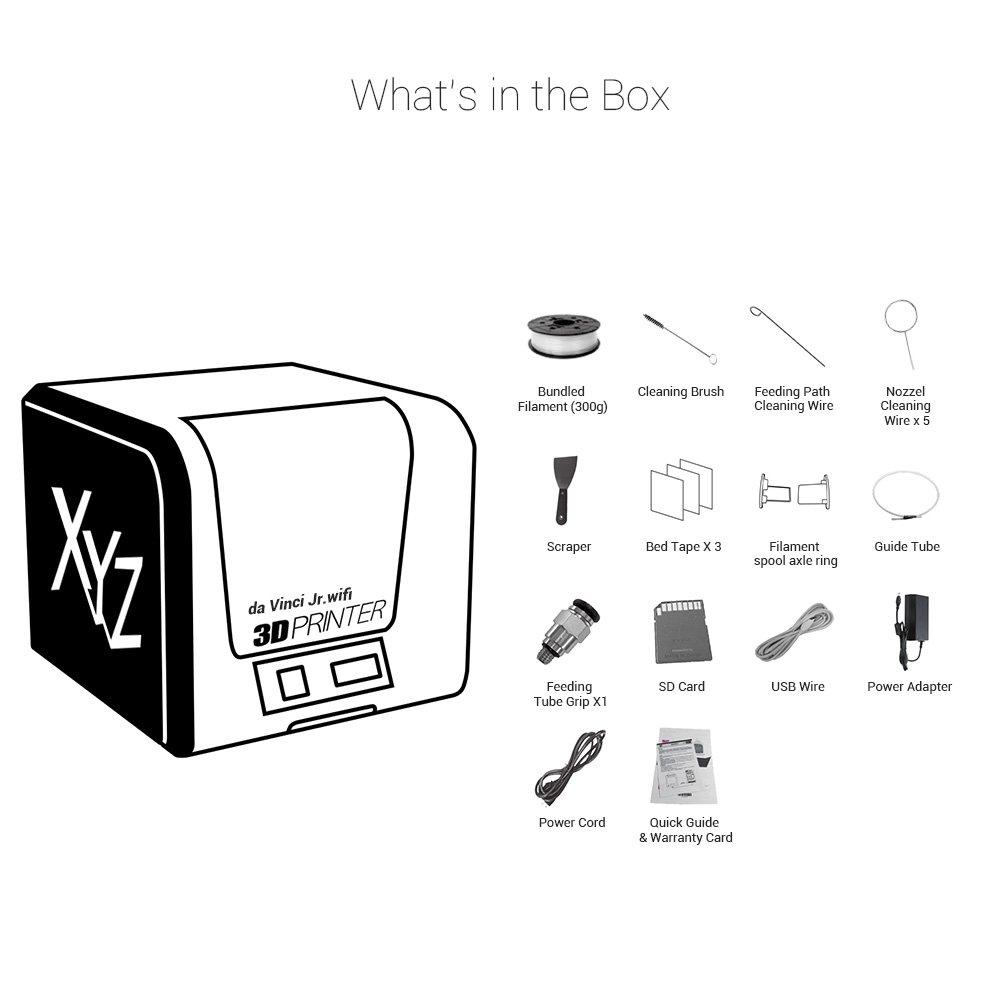 FREE for: /£12 300g PLA filament Wireless Auto-feeding Filament XYZ Printing da Vinci Jr 15x15x15cm Built Vol /£15 maintenance tools modelling software fully assembled and video tutorials 1.0 w 3D printer