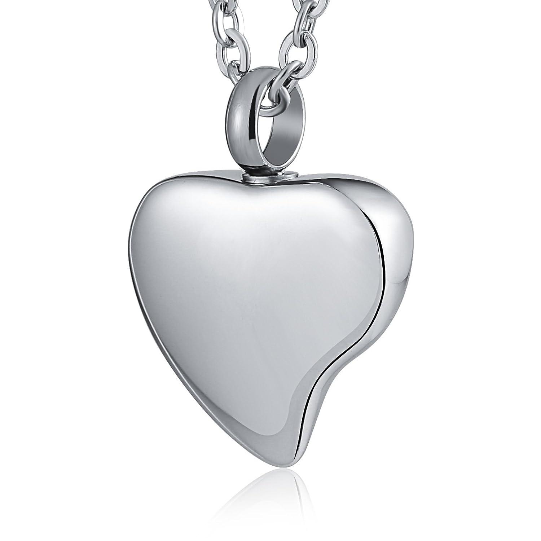 Epinki Joyería Acero Inoxidable Plata Amor Corazón Urna Collar para Cenizas Cremación Recuerdo Collar