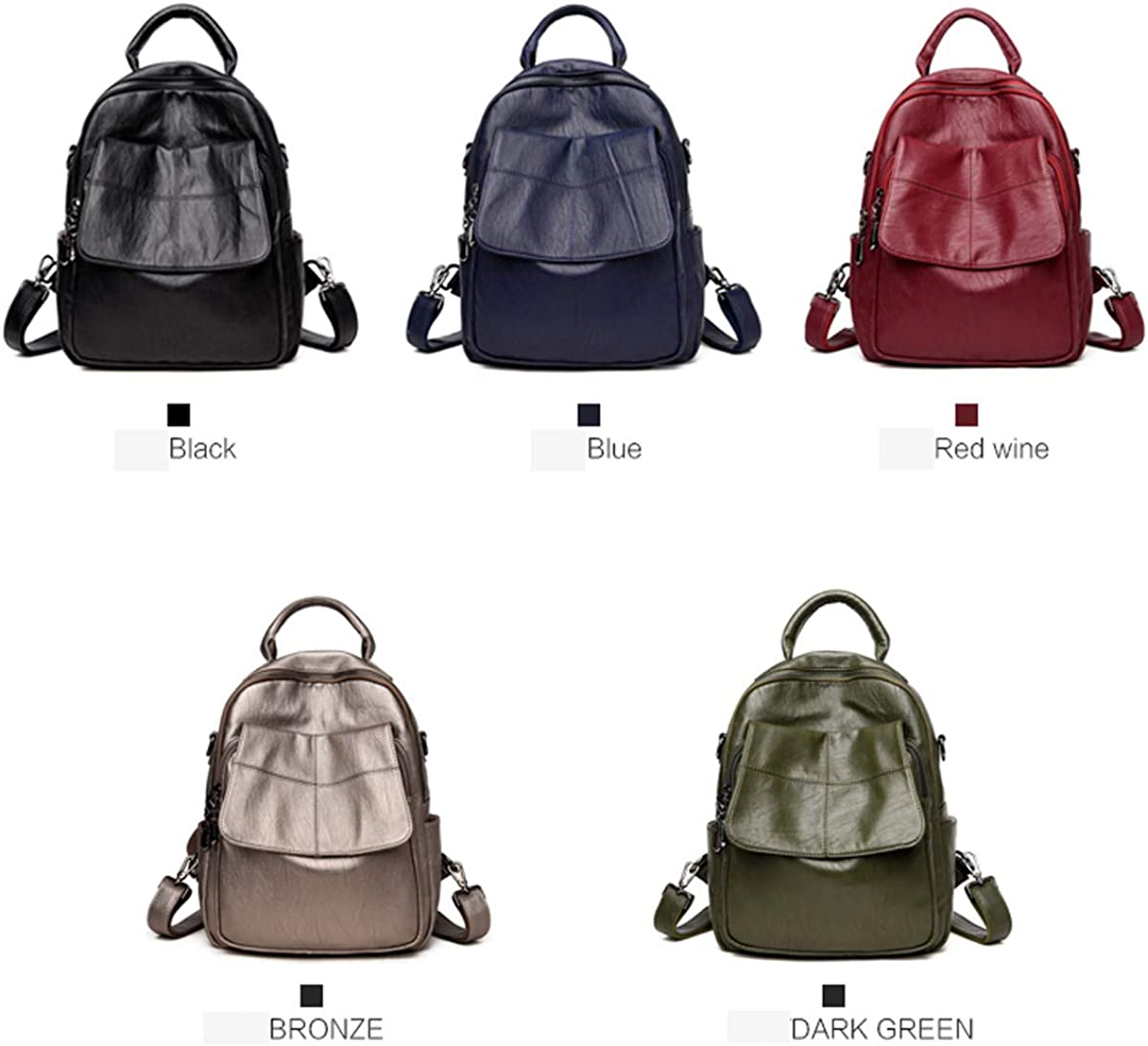 for Women /& Men Generous and Simple Five Colors ZHICHUANG Girls Multipurpose Backpack for Daily Travel//Outdoor//Travel//School//Work//Fashion//Leisure PU Leather