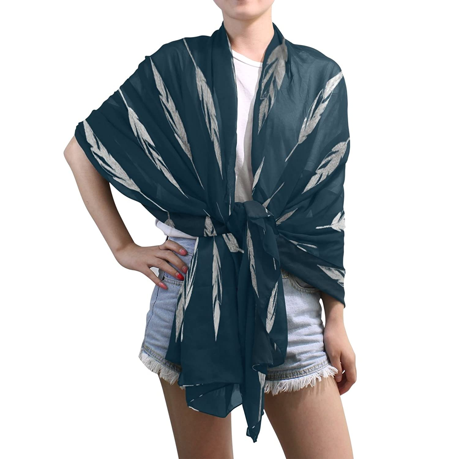 Lightweight Shawl Wrap Sheer Scarves,Christmas Leaves,Oblong Chiffon Scarf