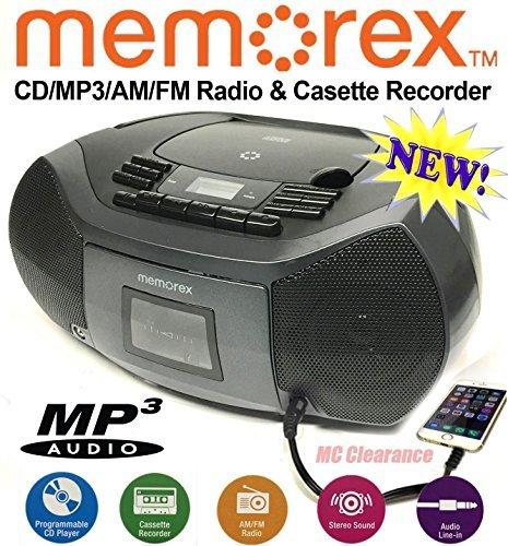 Memorex CD/Cassette Recorder MP3 AM/FM FlexBeats Boombox MP3261 with Aux line in jack - Black (Memorex Cd Radio Player)