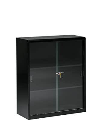 Tennsco 342GL Heavy Gauge Steel Executive Bookcase With Glass Doors And Lock 36quot Width