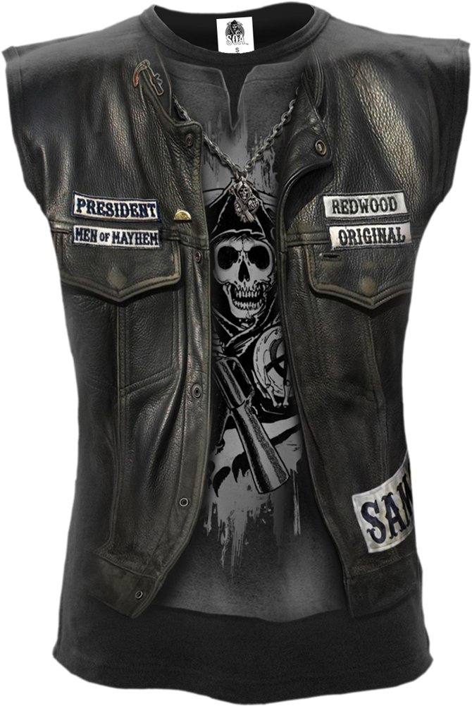 Spiral - Mens - Jax WRAP - Allover Licensed Sleeveless T-Shirt Black - L by Spiral