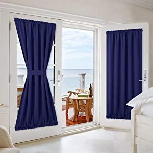 NICETOWN Navy Blue French Door Curtains - Privacy Enhancing Blackout Sidelight/Front/Patio Door Curtain Panels with Adjustable Hook & Loop Tiebacks - 2 Pieces W54 x L72-Inch