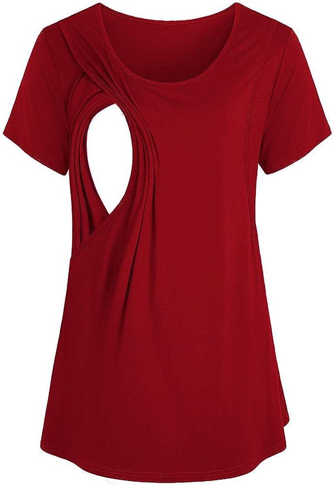 Riou Damen Kurzarm Stillshirt Sommer Doppelschicht Stillen 2 in1 Umstandsshirt f/ür Schwanger Maternity Umstandsmode Shirt Top