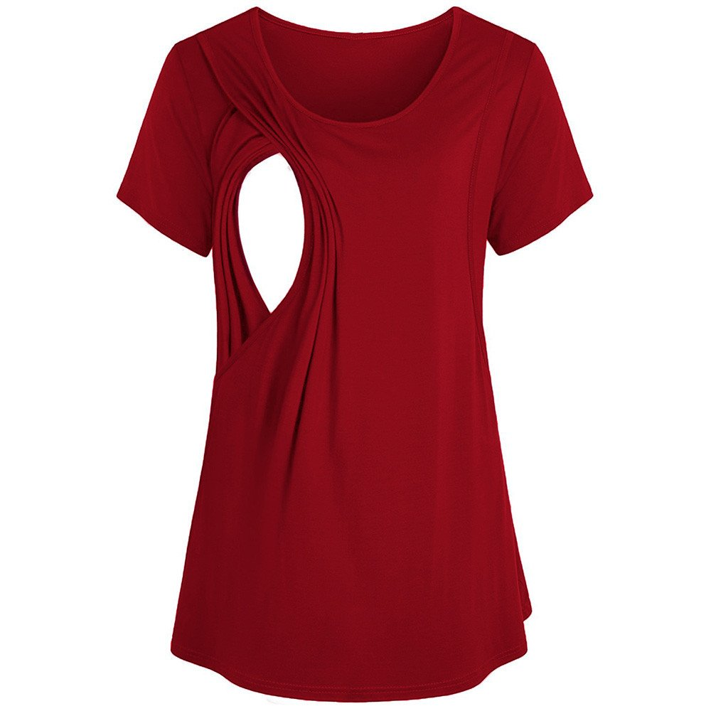 SRYSHKR Women's Maternity Nursing Breastfeeding Pregnant Solid Color Blouse Top Tee