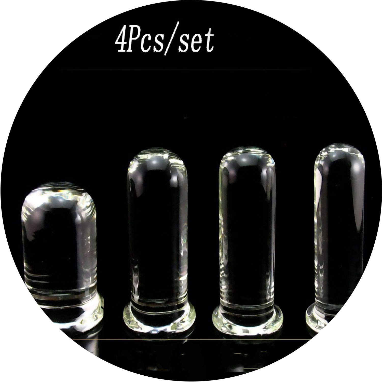 USEXMTY S-Tshirt 4 pcs/Set Promotion Clear Glass Huge Big Blockage Blockage Adult Toys for Woman Blockage Stimulator Blockage Excitement