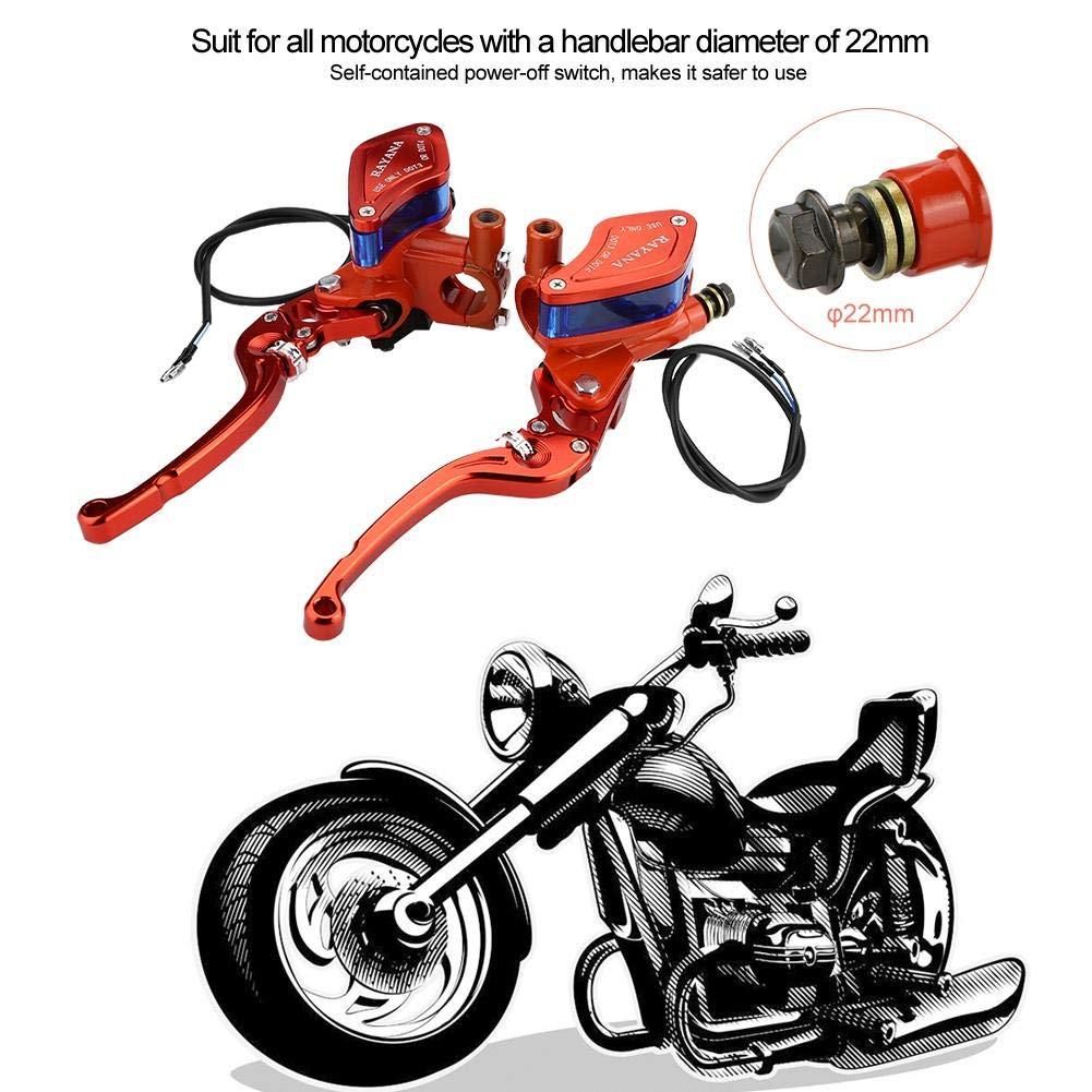 Akozon Embrague de freno CNC de 22mm Ajuste universal de rodillo CNC Bomba de freno de motocicleta hidr/áulica naranja