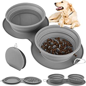 Collapsible Dog Bowl, Portable Slow Feeder Pet Food Feeding Bowl for Cat, 2-in-1 Foldable Silicone Pet Watering Dish, Anti-Spill Design, Easy to Clean for Outdoor Hiking Camping Picnic