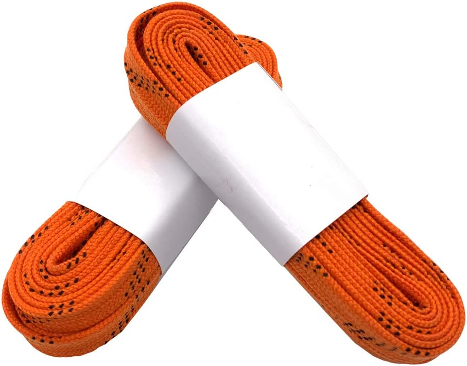 Silfrae Waxed Skate Hockey Laces Skate Laces Sold in Two Pairs Heavy Duty Perfect for Hockey and Skates, Boots, Multi-Size and Multi-Color Available. Orange, 72
