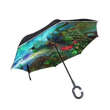 JSTEL Doble Capa Puede Pavo Real Bosque Flores Paraguas Coches Reverse Resistente al Viento Lluvia Paraguas