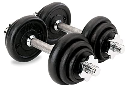 Weight Training Set 43kg Complete Weight lifting Set with Cast Iron Plates