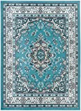 Antep Rugs Kashan King Collection HIMALAYAS Oriental Polypropylene Indoor Area Rug Blue and Cream 5' X 7'