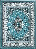 victorian home decor Antep Rugs Kashan King Collection Himalayas Oriental Polypropylene Indoor Area Rug (Blue/Cream 5' X 7')