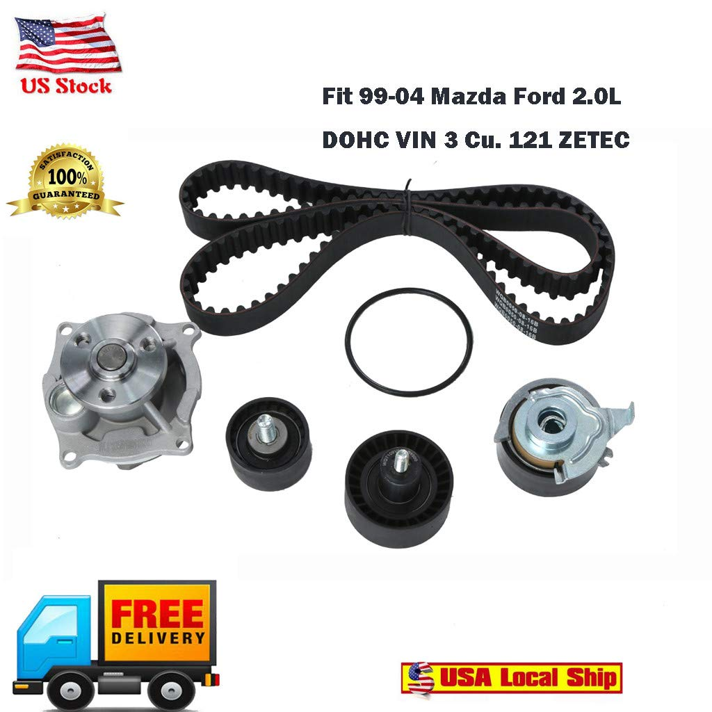 Automatic Tool Set, Vithconl Timing Belt Kit Water Pump Fits for 99-04 Mazda Ford 2.0L DOHC VIN 3 Cu. 121 (Ship from US)