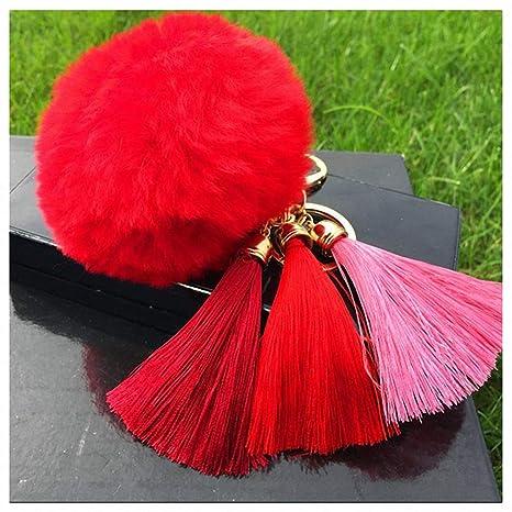 Amazon.com: Llavero con borla de peluquería para mujer con ...