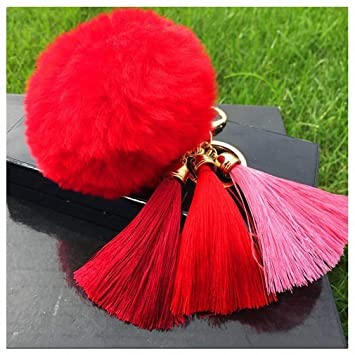 Womens Tassel Hairball Key Chain Pendant Tassel Rabbit Fur Fuzzy Ball  Pompom Keychain Bag Big Charm Key Ring Red  Amazon.ca  Office Products 238afb9b58