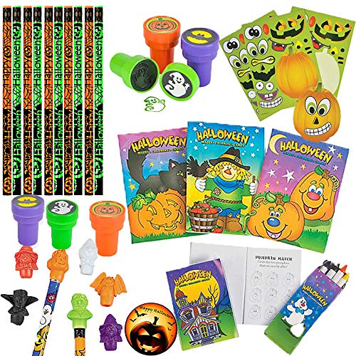 Halloween Activity Pack and Toy Assortment Goodie Bag Treats for Halloween School Games, Trick or Treat Favors, or Halloween Goodies for 12 Kids with EXCLUSIVE Halloween Pin by Another -