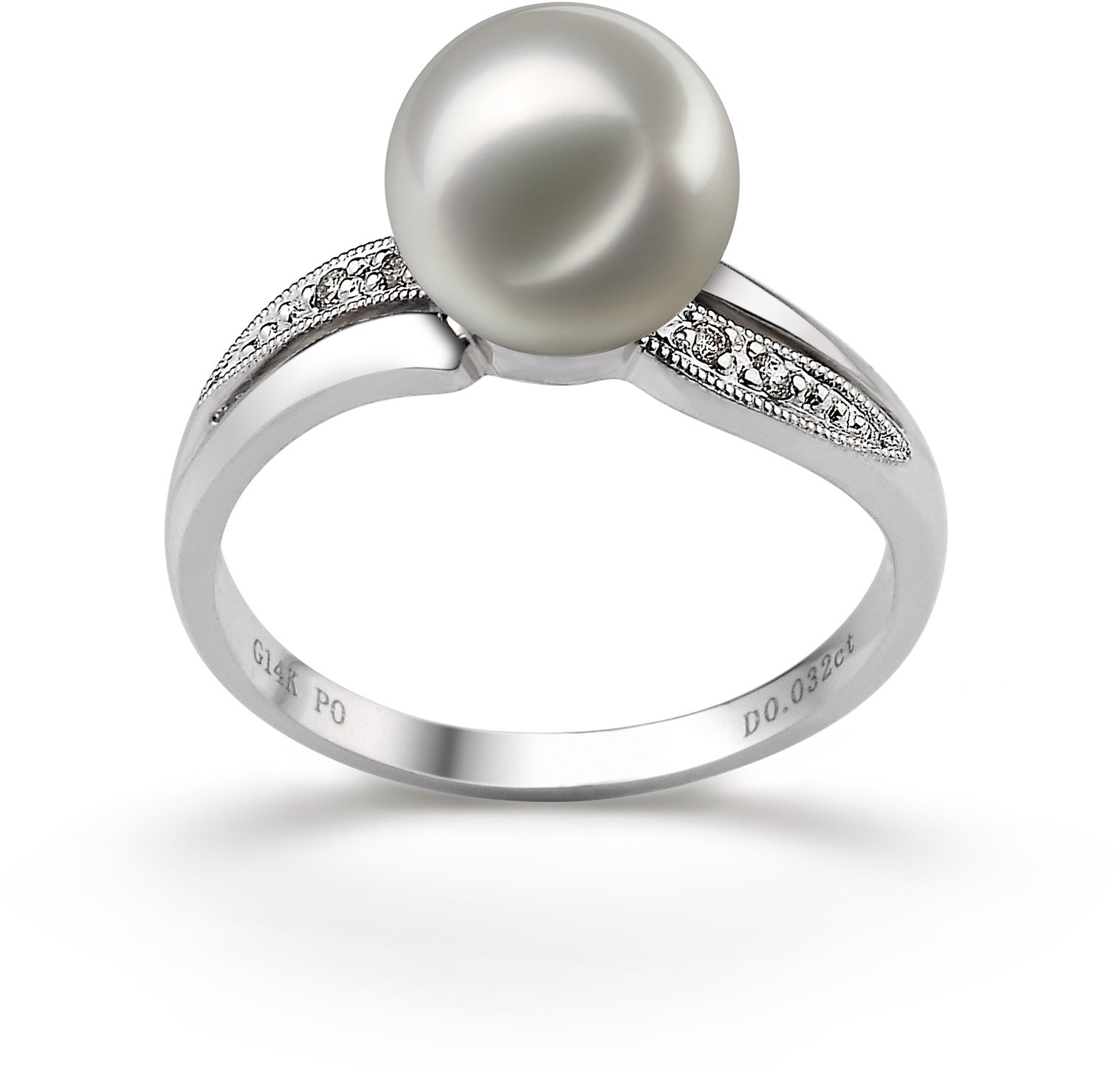 PearlsOnly - Caroline White 7-8mm AAA Quality Japanese Akoya 14K White Gold Cultured Pearl Ring - Size-6
