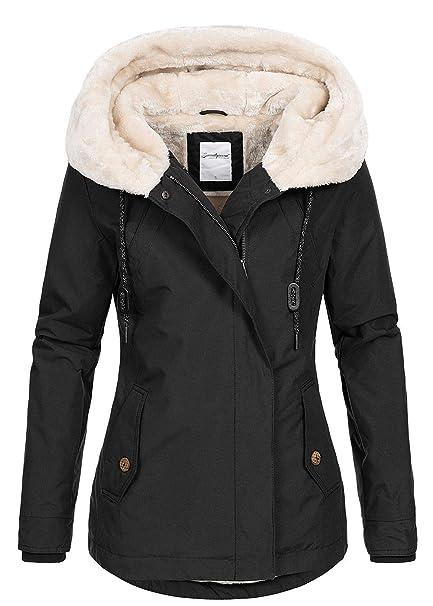Seventyseven Lifestyle Damen Winter Parka Jacke Kapuze 3 Taschen Teddyfell schwarz