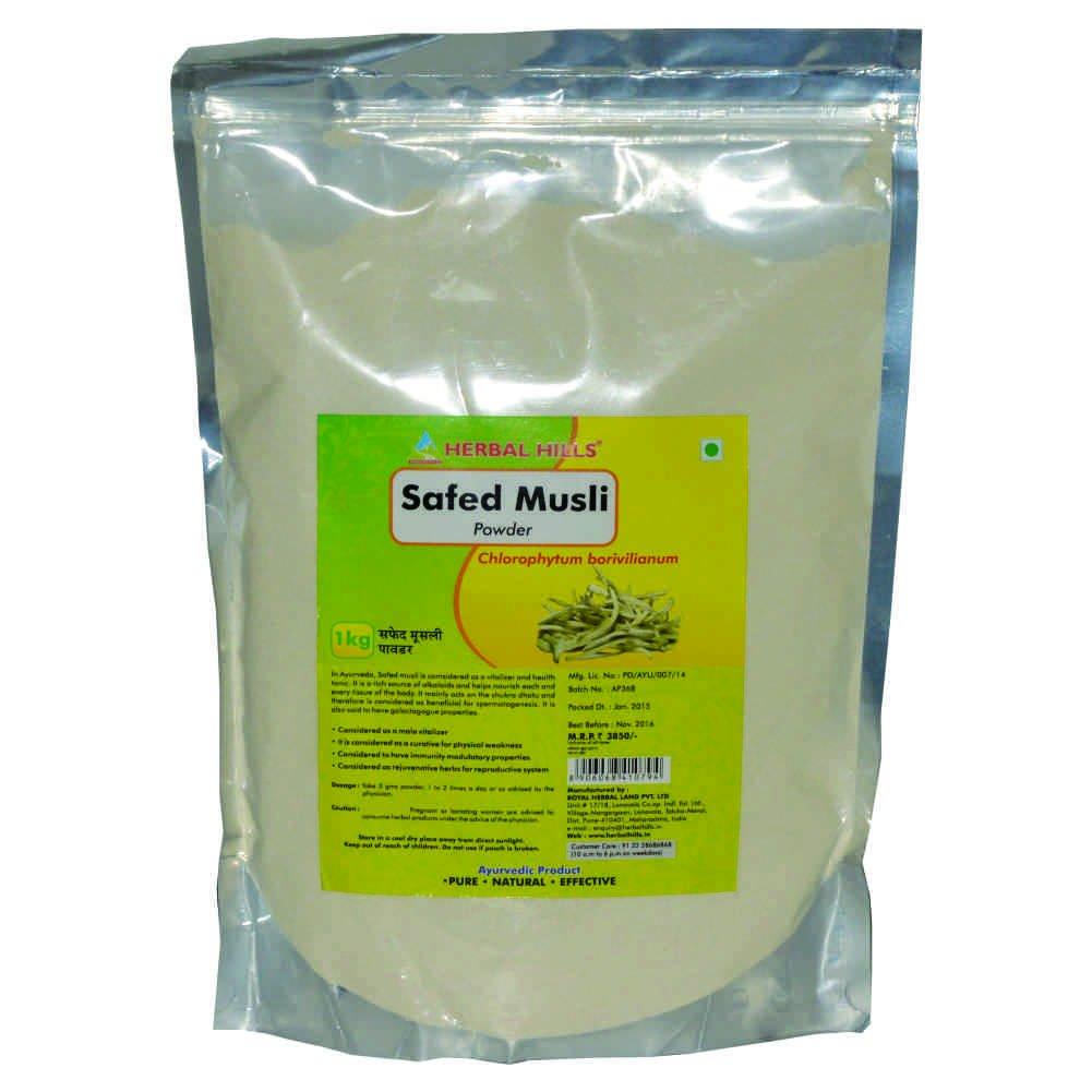 Herbal Hills Safed Musli Powder (Chlorophytum borivilianum)- 1kg, Energy booster ,Vitaliser health tonic