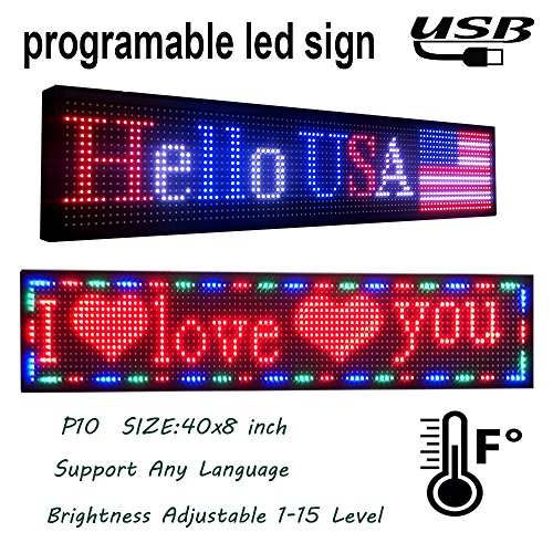 P10 outdoor full color led sign 40'' x 8'' with high resolution programmable led scrolling display and Perfect solution for advertising 1pcs by DS ledsign
