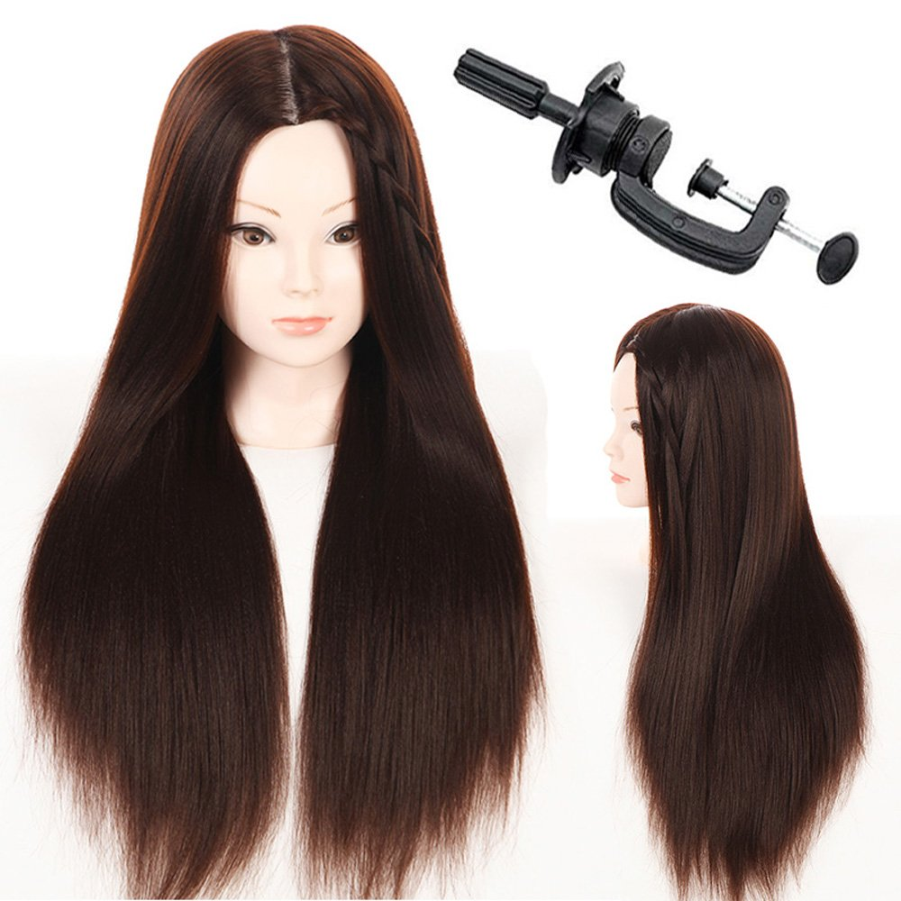 28 Mannequin Head Hair Styling Head Hairdresser Training Head Cosmetology Manikin Head Doll Head Synthetic Hair with Free Clamp MMZ