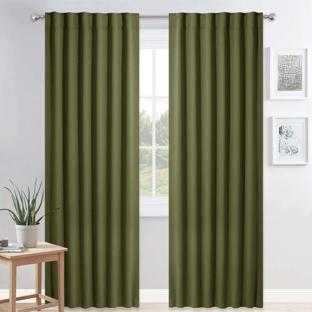 PONY DANCE Blackout Window Curtains - Home Decoration Drapes Polyester Back Tab Light Block Energy Saving Panels, 52 W by 84 L, Olive Green, Set of 2
