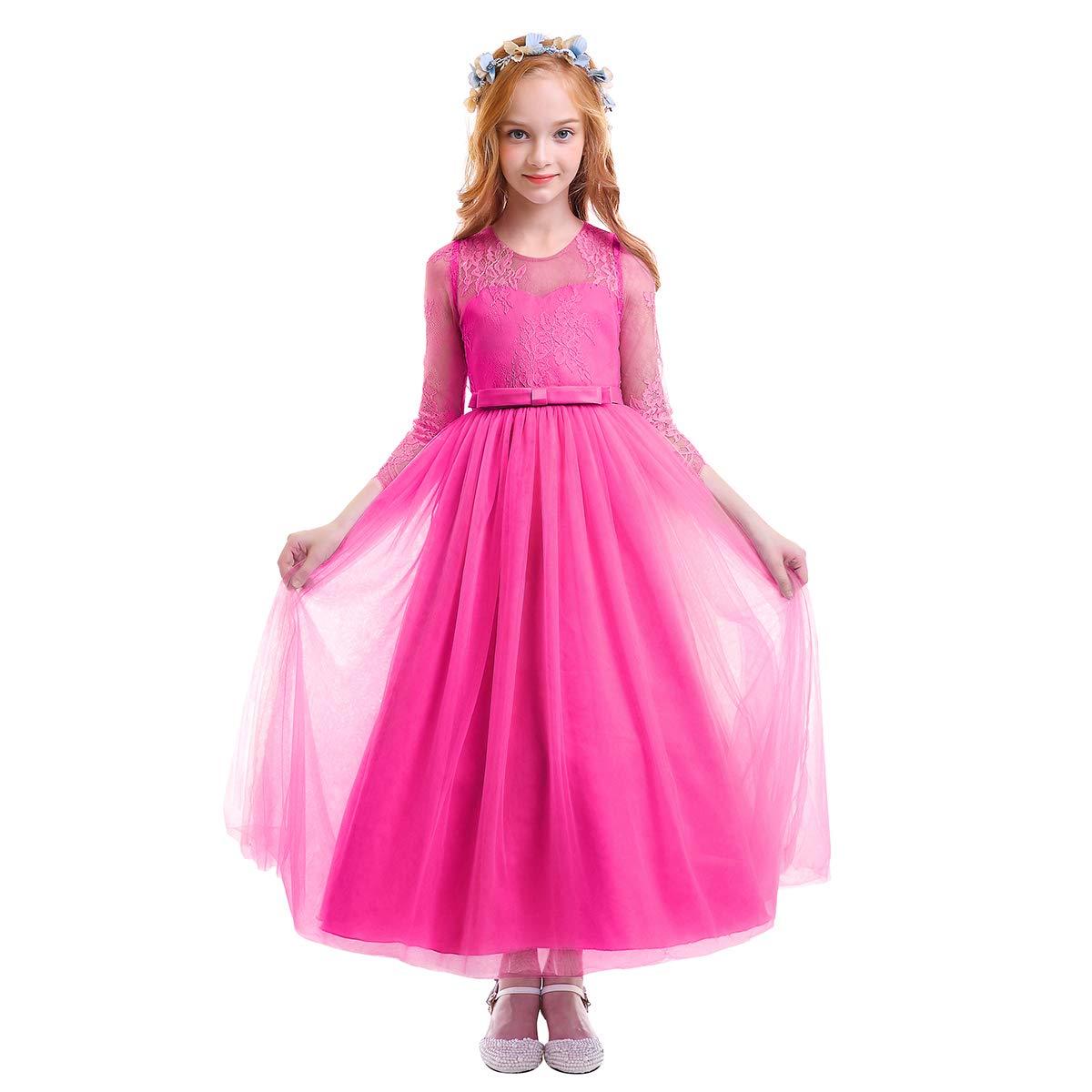 OBEEII Vestito da Principessa Fiore Ragazza Abito Maxi Pizzo Manica Lunga Floreale Gonna Tutu per Festa Cerimonia Carnevale Battesimo per Bambine 3-12 Anni
