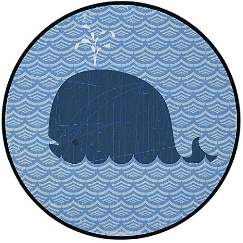 (Printing Round Rug,Whale Decor,Little Whale Water on Top with Art Deco Wavy Like Patterned Background for Kids Room Mat Non-Slip Soft Entrance Mat Door Floor Rug Area Rug For Chair)