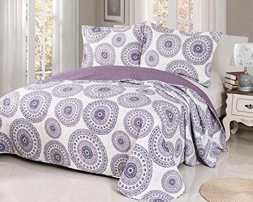 Disperse Printing Quilt Set Purple Queen Size 3-Piece include 2 pillow Shams patchwork Bedspread blanket