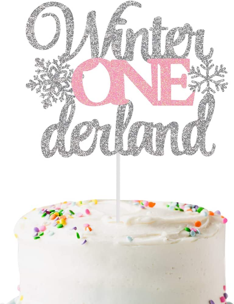 Pink Glittery Winter Onederland Cake Topper- Winter Onederland 1st Birthday Decorations,Winter Onederland Cake Decor,Winter Wonderland 1st Birthday Cake Topper Decor