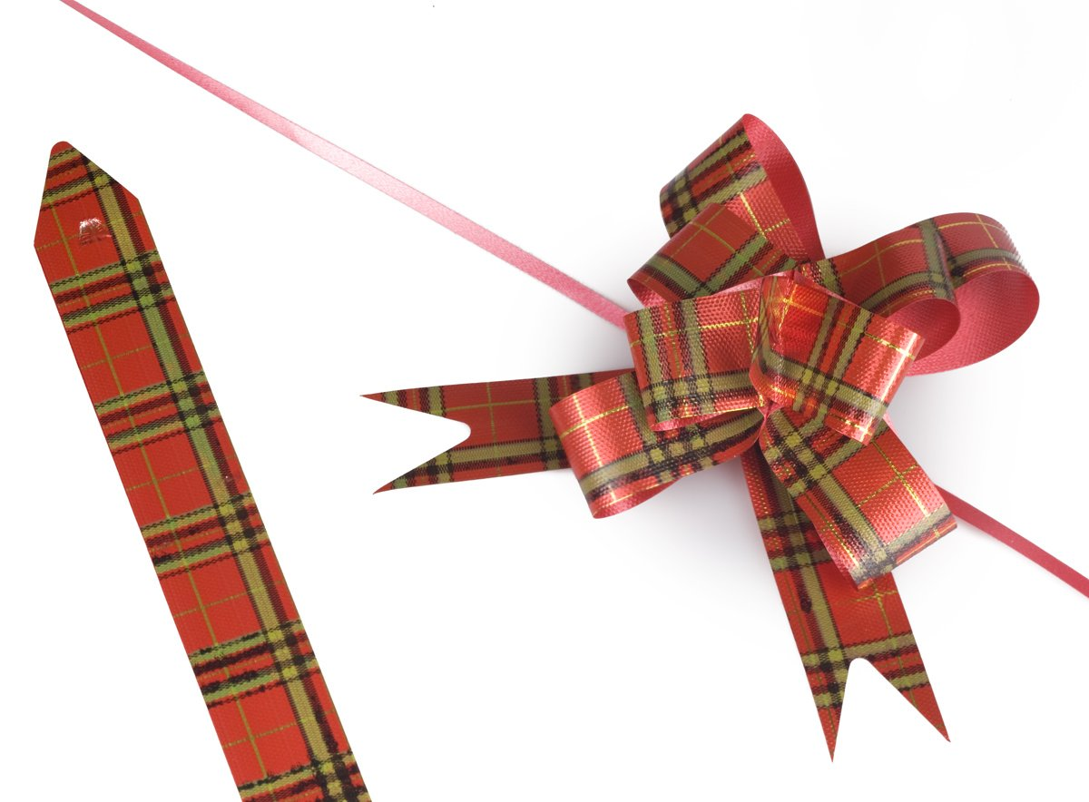 Red Classic Plaid 4'' Gift Wrapping Bow Pull Bows (10 pack) EASY TO USE, MAKES PERFECT PROFESSIONAL STYLE BOWS FOR GIFTS