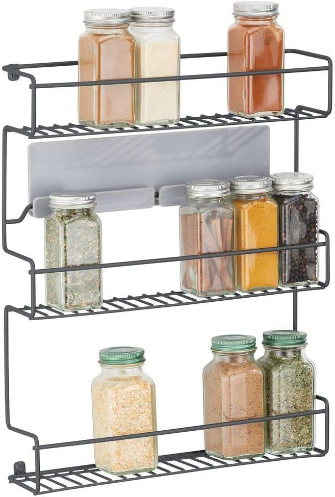 4 Tier Spice Herb Jar Rack Holder For Kitchen Wall Door Cupboard Storage Metal