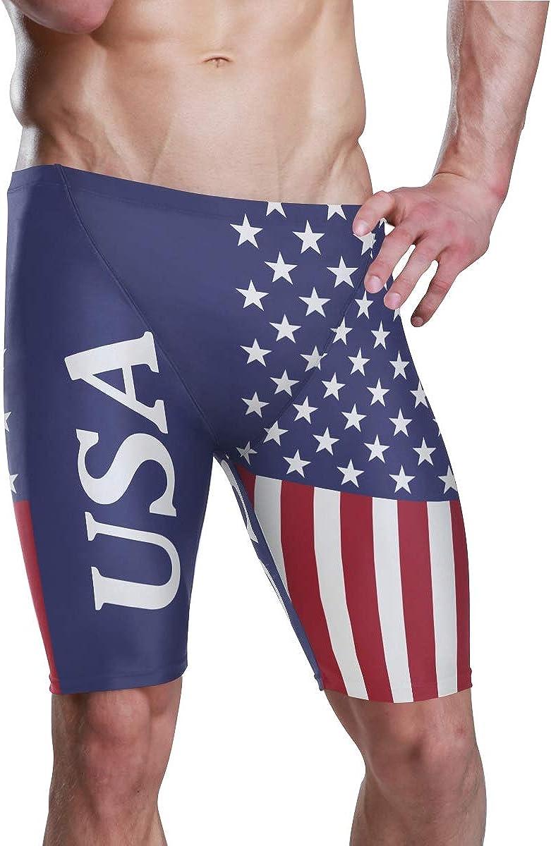 DQQiang Mens USA American Flag Jammer Quick Dry Sport Swim Suit Swim Trunks