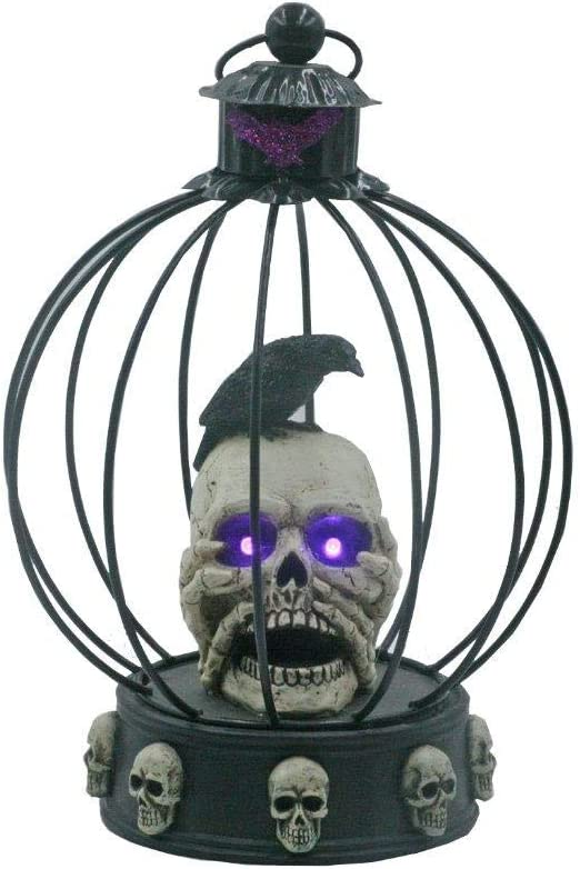 "Lightahead Halloween 10.7"" Crow/Raven on Scary Skull in Bird cage with LED Light,Creepy Light-Up Eyes for Halloween Decoration Party Home Décor"