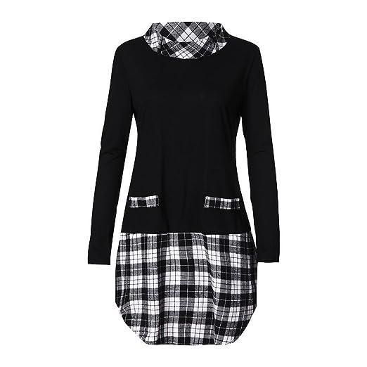 5c9e9abc2fe DEATU Women Tunic Tops Autumn Winter Plaid Patchwork Multiple Sizes Blouse  Long Sleeve T-shirts
