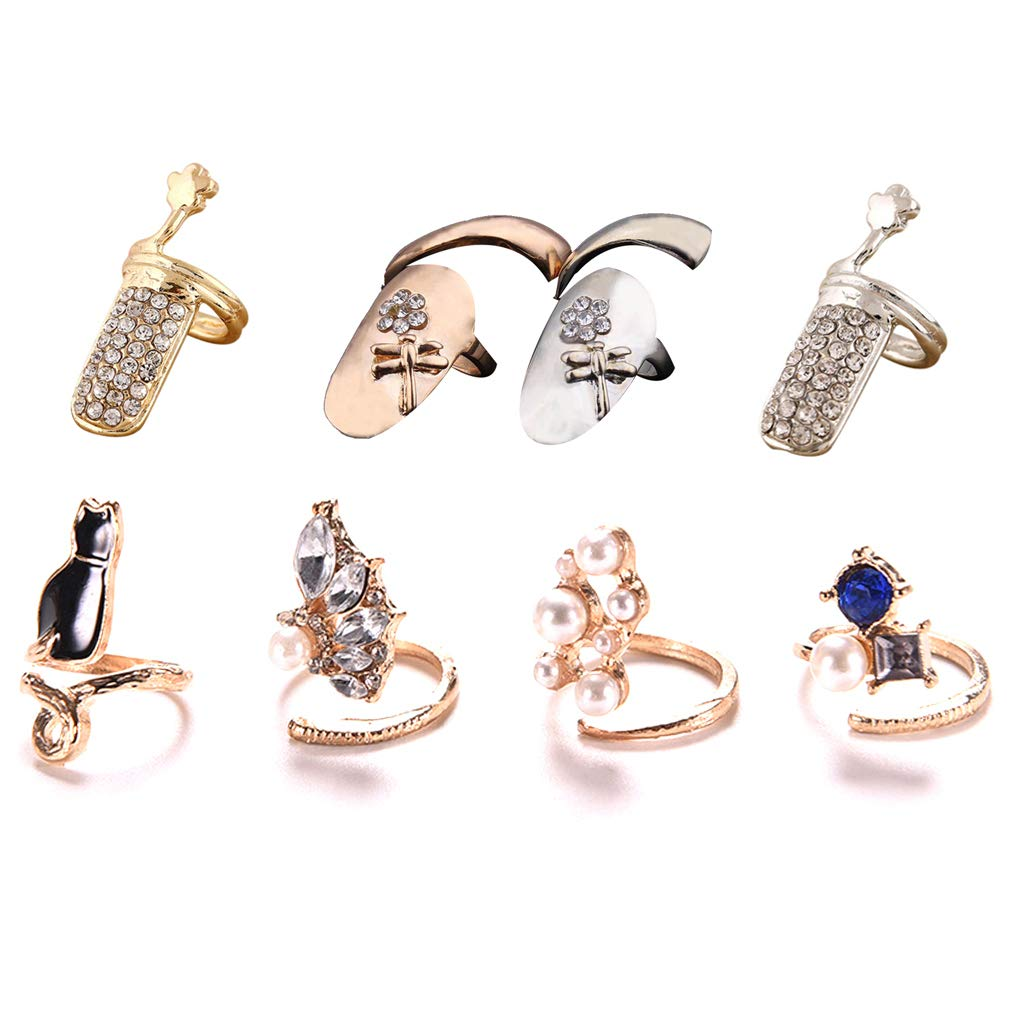 CosCosX 8 Pcs Women Luxury Fingernails Ring Retro Fashion Protecting Fingernail Knuckle Nail Ring Cap Cover Ring Finger Decoration Tip Nail Art Charm Cat Crystal Rhinestone Finger Rings Cute Nail by CoscosX