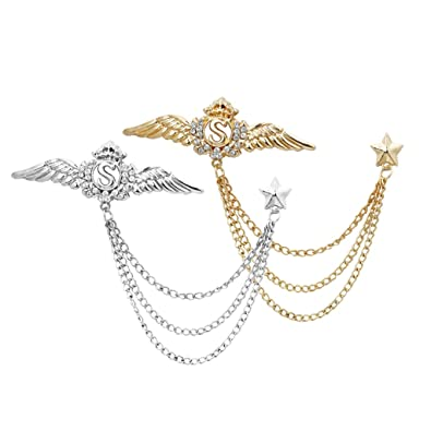 976bb3f547dc Image Unavailable. Image not available for. Color: Homyl 2pcs Men's  Diamante Crystal Angels Wings Collar Pins Lapel Brooch with Chain