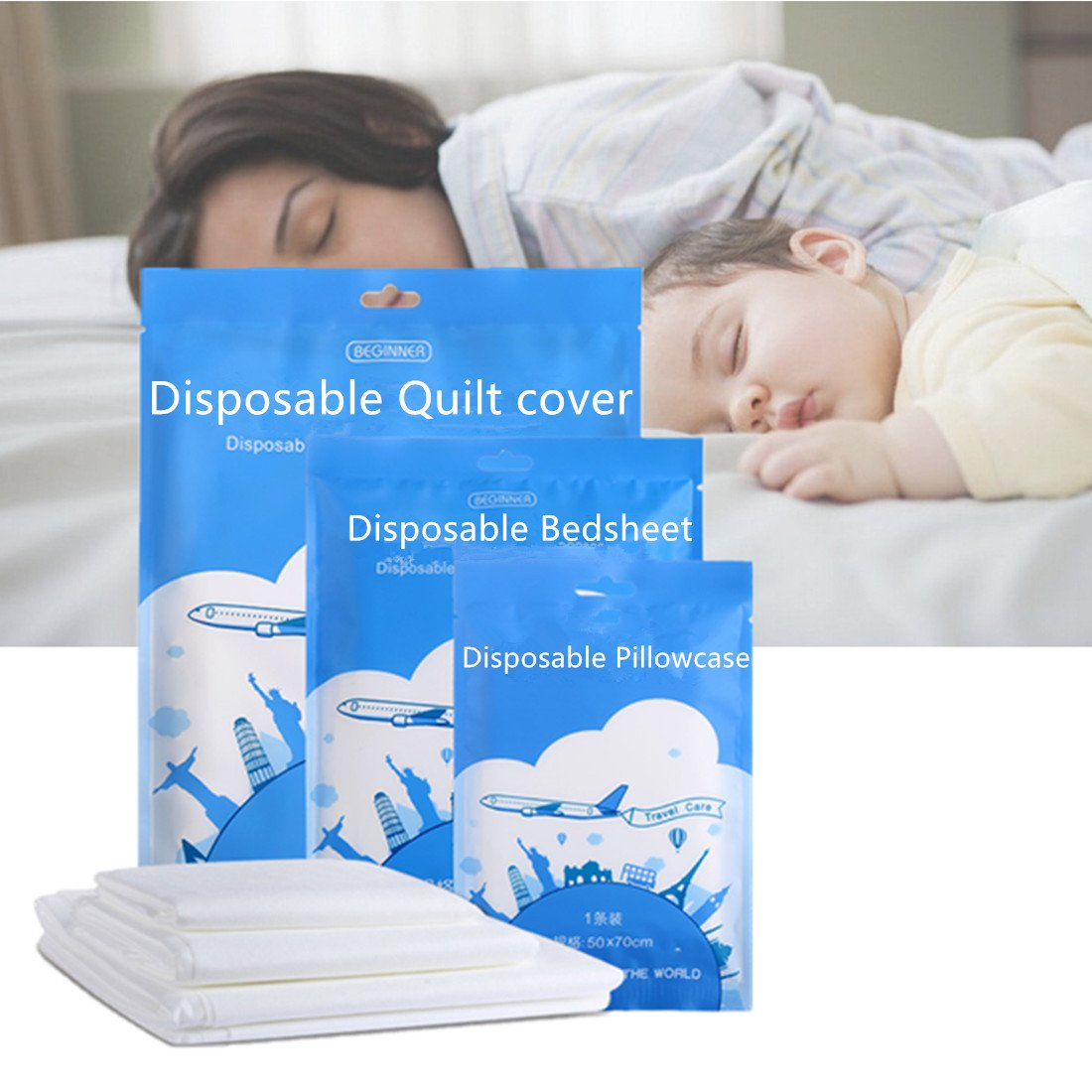 Bestja Portable Damp-proof Non-woven Disposable Quilt Cover Bedsheet Pillowcase for Business travel holiday (2 PCS Double bedsheet) BEGINNER