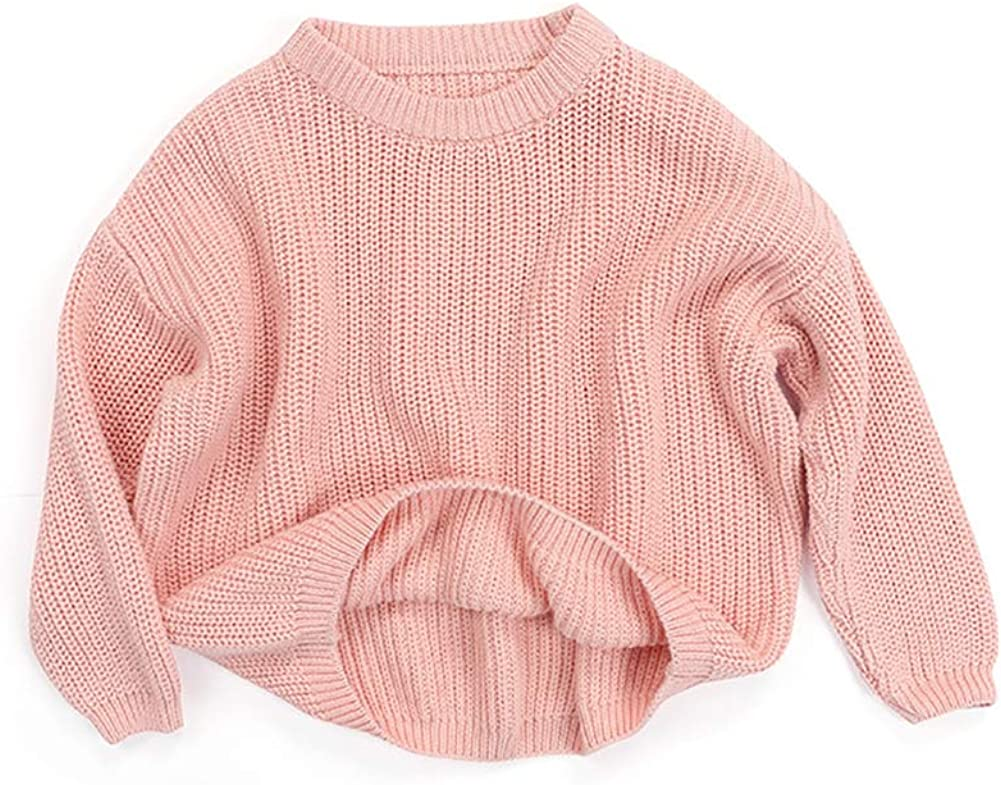 Toddler Kids Baby Boys Girl Solid Warm Winter Knit Sweater Tops Blouse Clothes