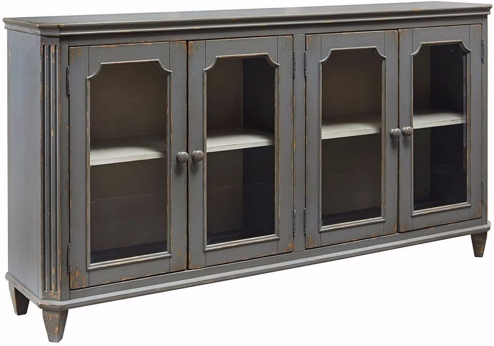 Signature Design by Ashley T505-662 Accent Cabinet with Doors, 4, Antique Gray/Glass